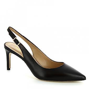 Leonardo skor kvinnors handgjorda häl slingback sandaler i svart kalv läder