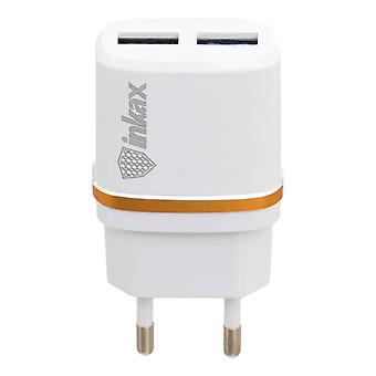 Inkax 2x USB 2.1A + 1.0A Fast Charging charger - White
