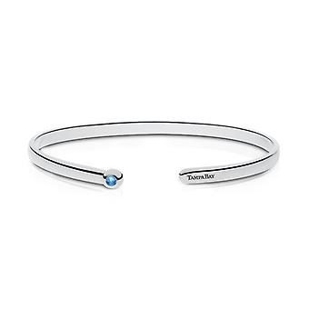 Tampa Bay Rays Engraved Sterling Silver Blue Topaz Cuff Bracelet