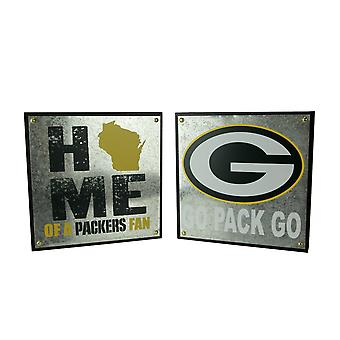 NFL Green Bay Packers Football Home of a Fan and Go Pack Go Wall Hangings
