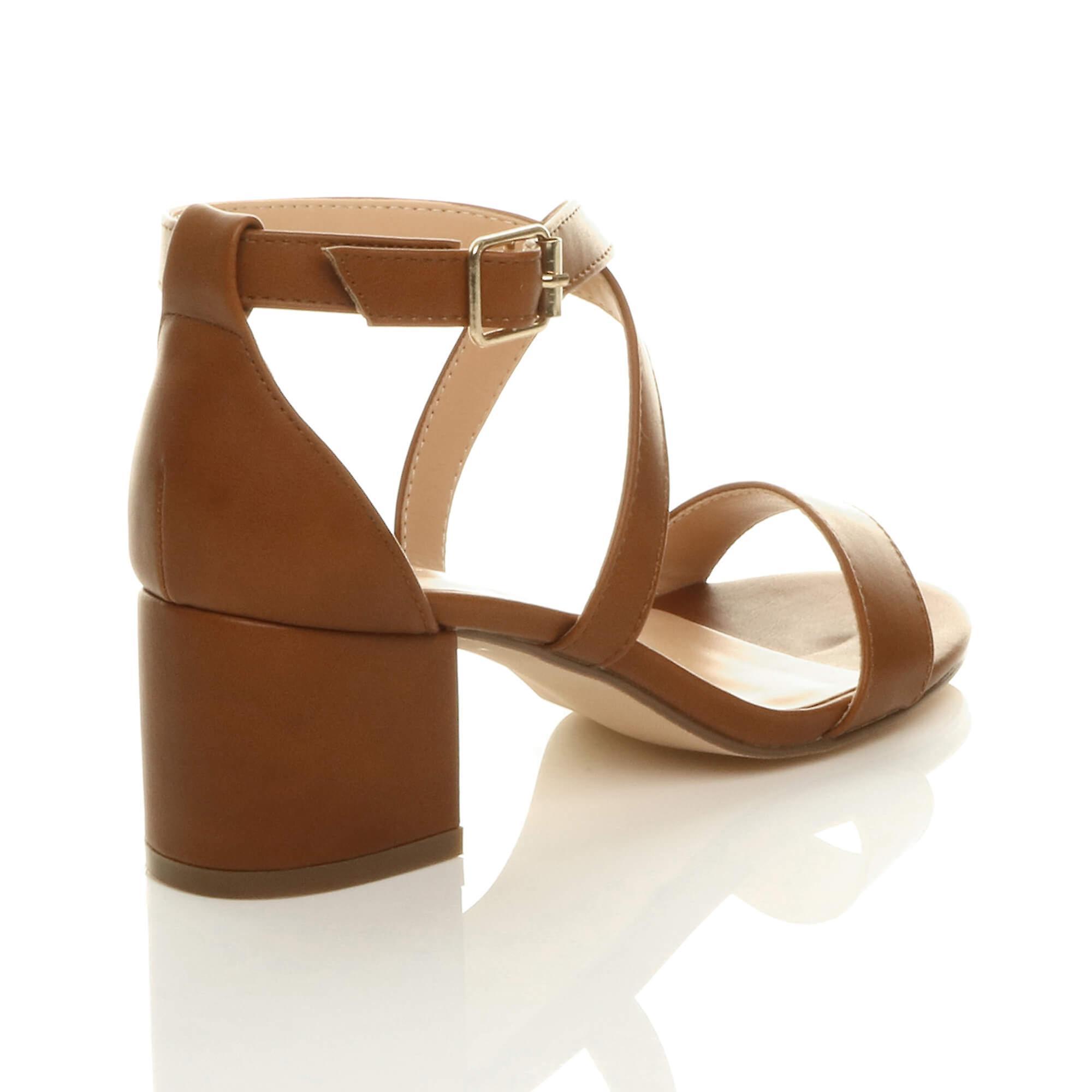 Ajvani Womens Mid lav blok hæl peep tå ankel strop strappy Party sandaler