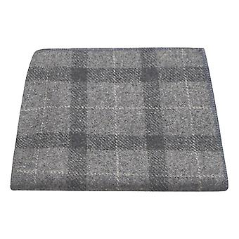 Light Grey & Dark Grey Check Pocket Square, Tweed, Tartan, Plaid