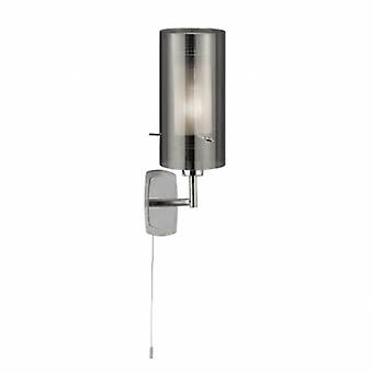 1 Light Wall Light Chrome With Smoked Glass Shade