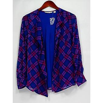 Isaac Mizrahi elää! Top XXS ruudullinen röyhelö painike edessä pusero sininen/vaaleanpunainen A258475
