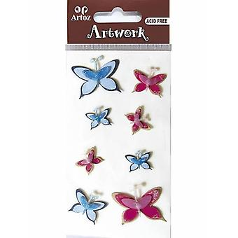 Pink And Blue Butterfly Craft Embellishment By Artoz