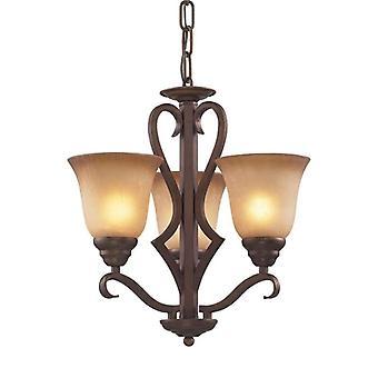 Lawrenceville 3-light chandelier in mocha with antique amber glass - includes led bulbs elk lighting