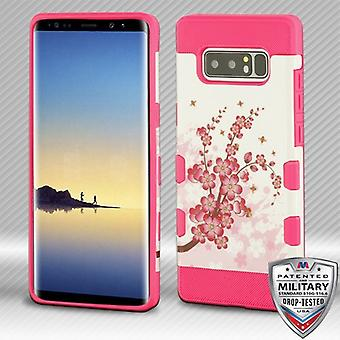 MYBAT Spring Flowers/Electric Pink TUFF Trooper Hybrid Protector Cover for Galaxy Note 8