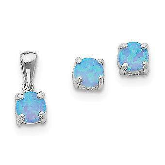 925 Sterling Silver Polished Post Earrings Rhodium plated Simulated Opal Pendant Necklace and Earring Set Jewelry Gifts