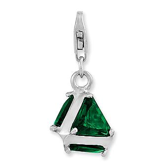 925 Sterling Silver Rhodium plated Fancy Lobster Closure Rhodium Plated 3 d Green Glass With Lobster Clasp Charm Pendant