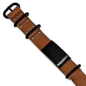 19.8mm Stainless Steel Brushed Black Ip Brown Leather Adj. ID Bracelet Jewelry Gifts for Women