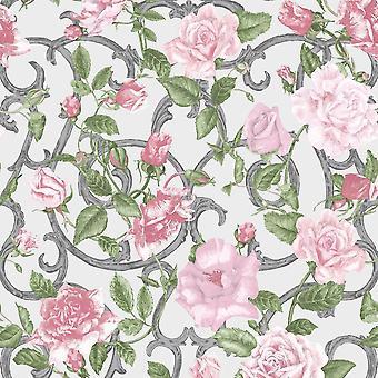 Rose Trellis Floral Wallpaper Pink Green Silver Metallic Garden Flower Muriva