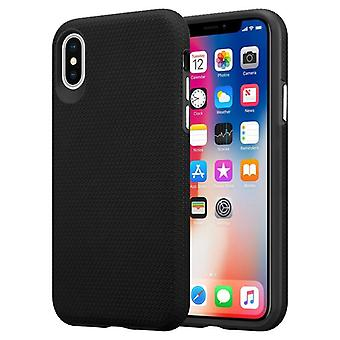 Cadorabo Case for Apple iPhone X / XS Case Cover - Outdoor Phone Case with Extra Grip Anti Slip Surface in Triangle Design made of silicone and plastic - Protective Case Hybrid Hardcase Back Case