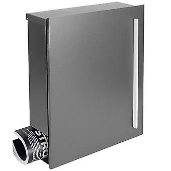 Projektowanie skrzynki pocztowej z gazety pole szarego aluminium (RAL 9007) MOCAVI pole 110 ściany list box 12 litrów