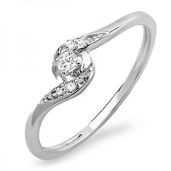 Dazzlingrock Collection 0.08 Carat (ctw) 10k Round Diamond Ladies Bridal Promise Engagement Ring 1/10 CT, White Gold