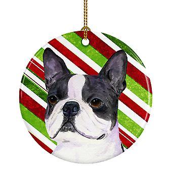 Boston Terrier Candy Cane vacaciones Navidad adorno cerámica SS4585