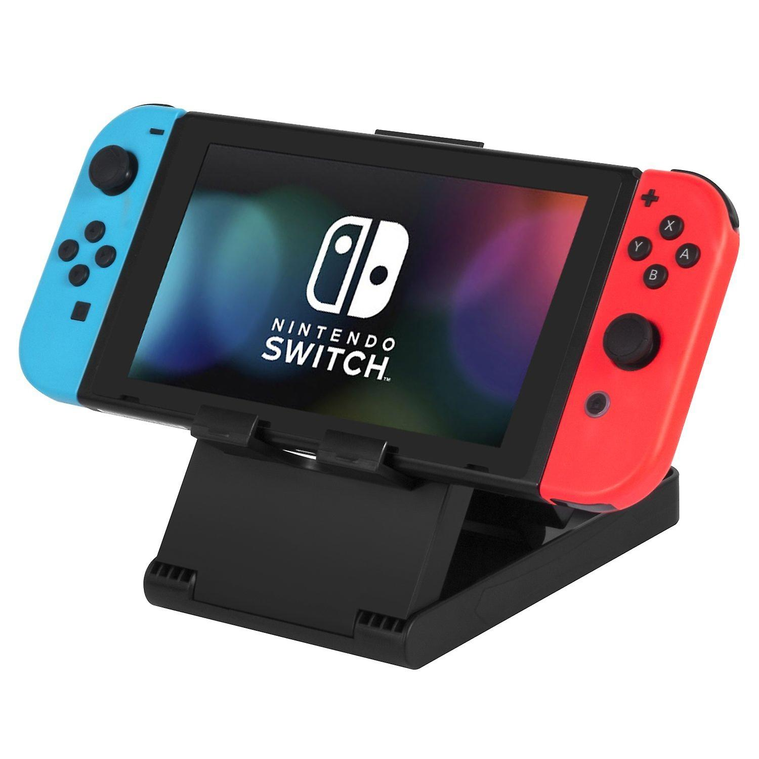 Tabletop multi angle foldable stand for nintendo switch with charging port access - black