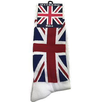 Mens Union Jack Sok wit maat 6-11 (UK)