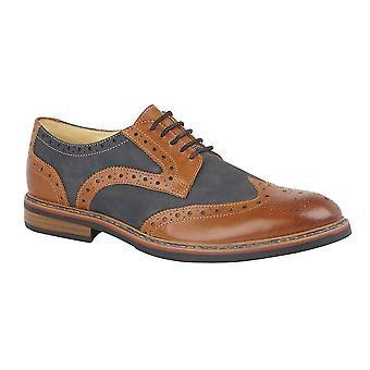 Chaussures en cuir Roamers Mens 5 Eye Brogue Laced Nubuck