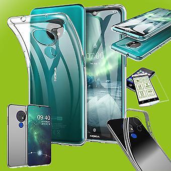 Für Nokia 6.2 / 7.2 Silikoncase TPU Transparent + 0,26 H9 Glas Tasche Hülle Schutz Cover