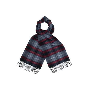 Dobell mens grijs & rode tartan check 100% lamsvacht sjaal