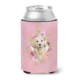 Carolines Treasures  CK4235CC Golden Retriever Pink Flowers Can or Bottle Hugger