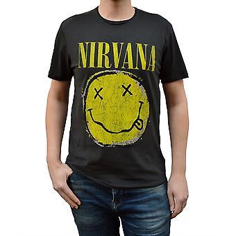 Zosilnený Nirvana opotrebované smiley posádky krku T-shirt
