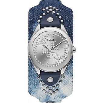 Antar att titta W1141L1 - HEARTBREAKER stål grå armband blå urtavla grå kvinna läderfodral