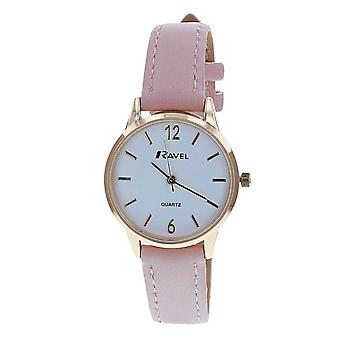 Ravel Ladies - Womens White Dial & Pink PU Buckle Strap Watch R0133.05.2