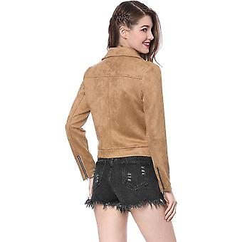 Allegra K Mujeres's Convertible Collar Zip Up Faux Suede Moto Chaqueta L Khaki
