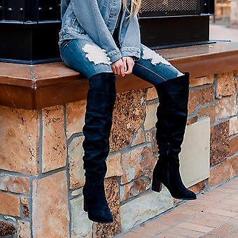 Brinley Co Womens Ruched Stacked Heel Almond Toe Knee High Fashion Boots