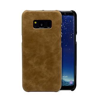 Para Samsung Galaxy S8 Case, capa de couro de proteção genuína e genuína, marrom
