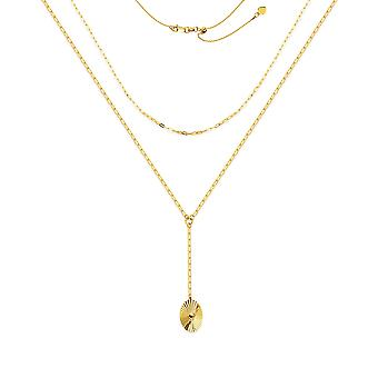 14k Yellow Gold Double Strand Radiant Sparkle Cut Pendant Drop Adjustable Necklace 17 Inch Jewelry Gifts for Women