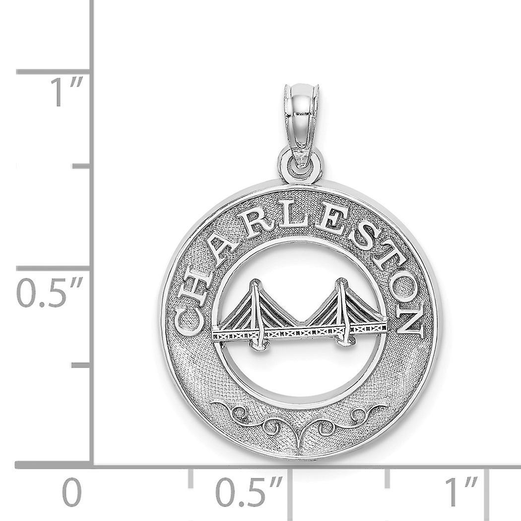 14k White Gold White Char Pendant Necklaceleston Round Frame With Bridge Center Jewelry Gifts for Women