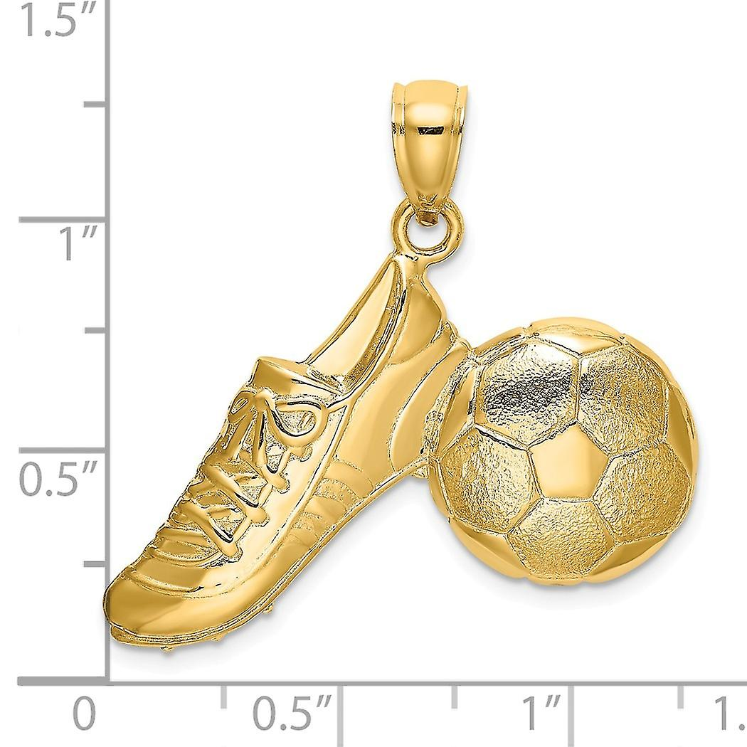 14k Gold Soccer Ball and Shoe High Polish And Eng / 2 d Charm Pendant Necklace Jewelry Gifts for Women