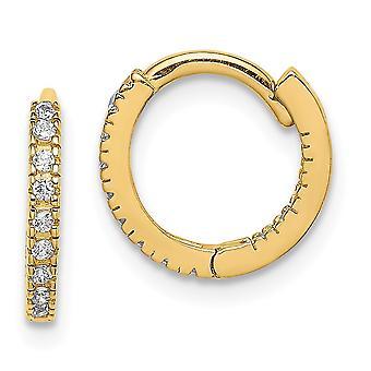 14k Madi K CZ Cubic Zirconia gesimuleerde diamant scharnierende hoepel oorbellen meet 10,7 mm lange sieraden geschenken voor vrouwen