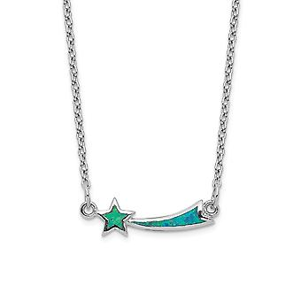 925 Sterling Silver Rhodium plated Simulated Opal Star With 4inch Ext. Choker Necklace 12 Inch Jewelry Gifts for Women