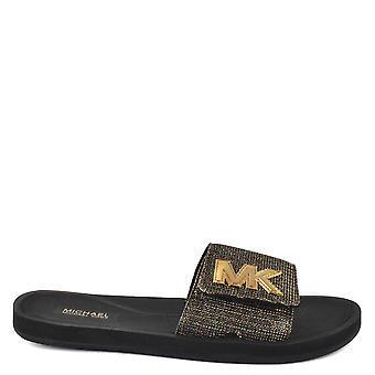 MICHAEL by Michael Kors Mk Slide Black Glitter Chain Mesh Slider