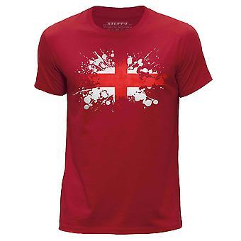STUFF4 Men's Round Neck T-Shirt/England/English Flag Splat/Red
