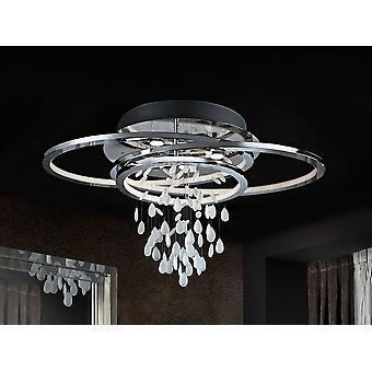 Schuller Bruma - Lampe de plafond en métal, finition chromée. Cristaux blancs avec des bords clairs. Ovales nonymétriques avec diffuseurs blancs de méthacrylate avec lumière LED à l'intérieur. - 696318