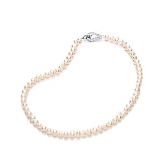 David Deyong Sterling Silver Freshwater Pearl Fancy Link Necklace