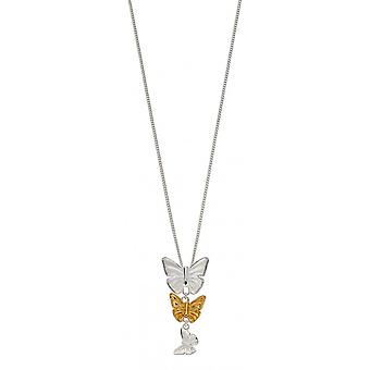 Joshua James Serenity Silver & Yellow Gold Plated Butterfly Pendant