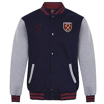 West Ham United Mens Jacket Varsity Baseball Retro OFFICIAL Football Gift