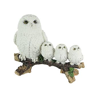 Lifelike Snow Owl and Chicks Tabletop Statue Mother and Children Figure