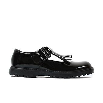 Clarks Asher Verve Youth Black Patent Leather Girls T Bar School Shoes