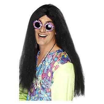 Largo para hombre Hippy negro peluca disfraces accesorios