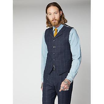 Clarence Navy & Grey Windowpane Check Suit Waistcoat