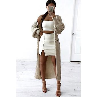 Breonna Oversized Balloon Sleeve Long Knitted Maxi Cardigan