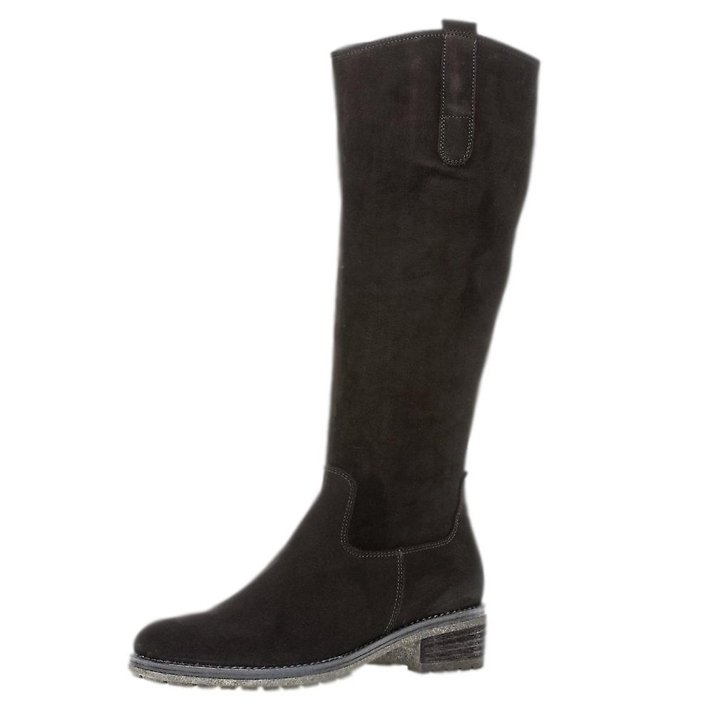 Gabor Shields Slim Fit Style Long Boots In Black Nubuck QIHpn