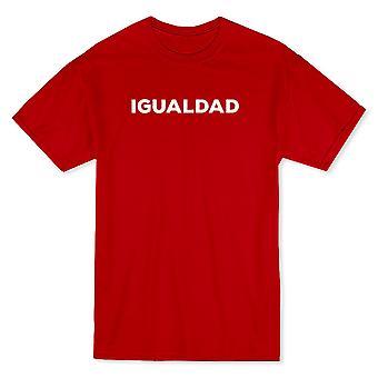 """""""Igualdad"""" (igualdad) a través de camiseta pecho texto blanco hombres"""