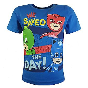 Pj masks boys t-shirt owlette gekko catboy 'we saved the day'